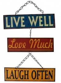 Metalen wandbord ketting Live well