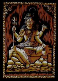 Indiase wandkleed muurkleed katoen Shiva driekleurig zwart wit bruin - c.a.  80 x 110 cm