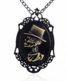 Gothic horror steampunk camee ketting doodskop met hoed