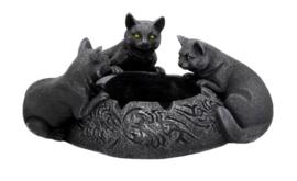 Feline Trio Asbak met 3 zwarte katten - 17.7cm