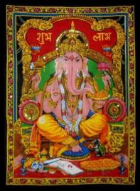 Eenpersoons bedsprei wandkleed Indiaas katoen met glitters - Ganesha - 150 x 200 cm