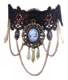 Fantasmagoria Gothic Absinthiana choker zwarte kant met camee Absinth Fee