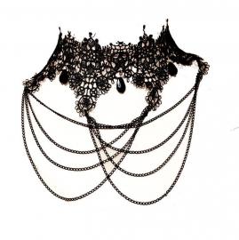 Black cobwebs and chains 5 - zwarte Gothic kanten choker
