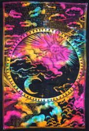 Bedsprei wandkleed eenpersoons Zon en Maan gekleurd 2  - 120 x 220 cm