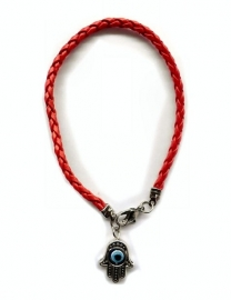 Leatheroid red string Kabballah bracelet with Hamsa & revolving Evil Eye