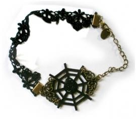 Gothic vintage kanten enkelband spinnenweb