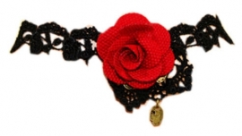 Red rose and black lace - zwarte gothic kanten choker