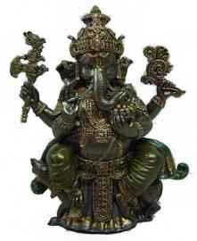 Ganesha bronskleurig beeld - 20 cm hoog