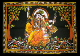 Indiase Hindu god wandkleed Krishna Radha op Schommel 40 x 55 cm