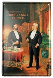 Blikken metalen wandbord John Labatt Brewer - 20 x 30 cm