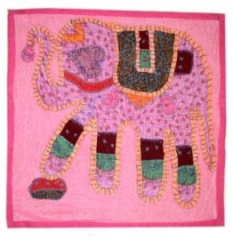 Indiase katoenen kussenhoes olifant roze - 40 x 40 cm