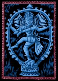 Indiase wandkleed muurkleed katoen dansend Shiva blauw - c.a.  80 x 110 cm