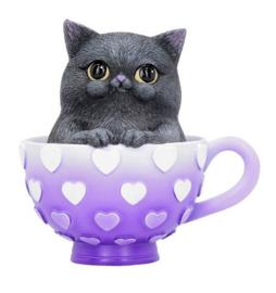Cutie Cat - Kat in theekop keukendecoratie - 10.5 cm hoog