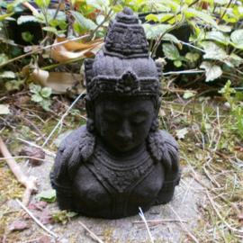 Boeddha Quan Yin hoofd zwarte lavasteen 17 cm hoog