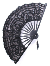 Fantasmagoria Secret Garden black Battenburg lace large folding fan