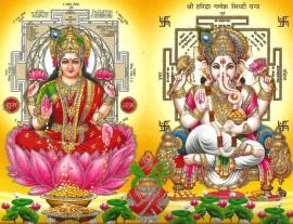 Hindu poster Lakshmi & Ganesha  - 23 x 29 cm