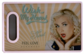 Retro snijbord / boterhambord Wish my heart - 16 x 25 cm