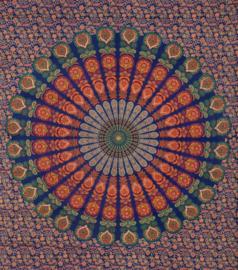 Bedsprei, wandkleed, grand foulard Paauw Blauw Roest - 210 x 220 cm