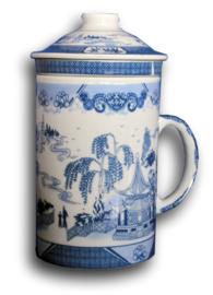 Driedelige porseleinen theemok - 14 x 7 cm - Willow Pattern 2