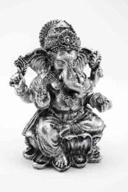 Ganesh Beeld Resin Zilver 12 x 7 x 15 cm