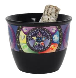Kom smudge stick brander - beker - Pentagram Pentakel - 10.5 cm hoog