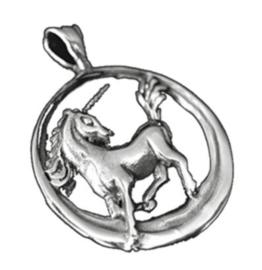 925 Sterling zilveren kettinghanger eenhoorn in cirkel - 2.5 cm doorsnee