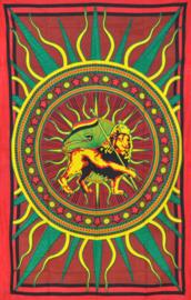 Bedsprei wandkleed eenpersoons Rastafari met Leeuw in Cirkel - 120 x 220 cm