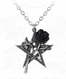 Alchemy Gothic ketting - Ruah Vered - pentagram met zwarte roos