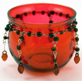 Theelichthouder rood glas met kralen - 6 cm hoog