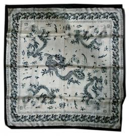 Indiase zijden sjaal chinese draak z.w. 2 - 1 x 1 meter