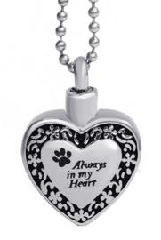 Crematie assieraad nekketting 316 roestvrije staal kat hond Always in my Heart - 3.2 mm hoog 2