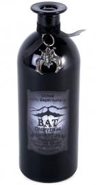 Zwarte glazen fles Bat's Droppings 20 cm hoog
