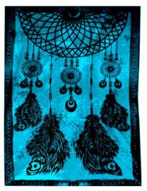 Bedsprei wandkleed grand foulard Droomvanger turquoise 210 x 230 cm