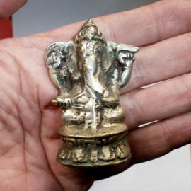 Ganesha beeld verzilverde brons 6 cm hoog