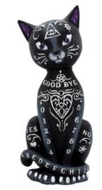 Mystic Kitty - zwarte kat met zilveren mystische symbolen pentagram ouija oog - 26 cm hoog