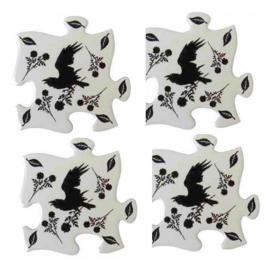 Alchemy of England - keramieke onderzetters - Black Raven & Rose - 20.2 cm - set van 4
