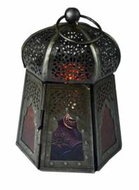 Lantaren multikleurig glas - paddenstoelvormig - 12 x 9 cm