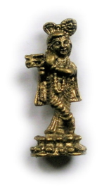 Minibeeld messing Krishna met fluit 4 cm hoog