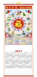 Chinese scroll kalender Zodiac