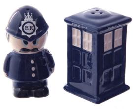 Zout en peper setje Politieman en Tardis telefoon box - 8.5 cm hoog 2