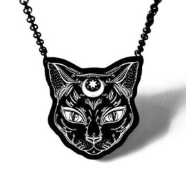 Curiology nekketting Zwarte Kat - Gothic Wicca Occult Egyptisch Bastet Maanteken - 6 cm doorsnee