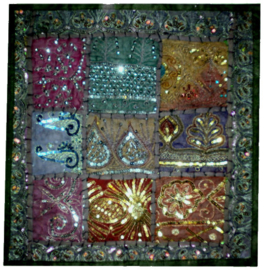 Indiase kussenhoes lapjesdessin met glitters donkergrijsgroen 40 x 40 cm