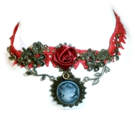 Red lace and Cameo - rode kanten Gothic choker