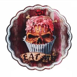 Alchemy of England keramieke onderzetter snijplank cake stand met doodskop decoratie - Skull Cupcake - 20 cm doorsnee