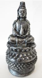 Quan Yin wierook / kegel brander 18 cm hoog zilver