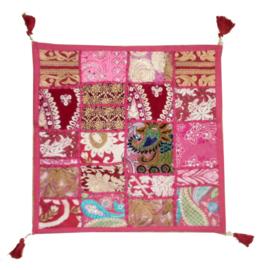 Katoenen kussenhoes met lapjesdessin - luxe model met rits - 40 x 40 cm - roze