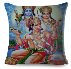 Kussenhoes Hindu God - Hanuman, Shiva, Parvati - 45 x 45 cm