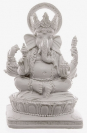 Ganesha wit zittend - 13,5 cm hoog