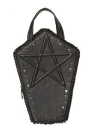 Banned Apparel - Emira Bag - zwarte Gothic doodskist tas met pentagram - 30 x 21 x 8 cm