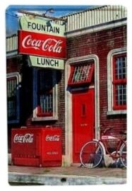 Blikken metalen wandbord Fountain Coca Cola - 20 x 30 cm